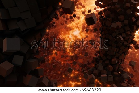 Explosion near stone wall. Cube stones like bricks are flying in all directions. Rendering illustration. - stock photo