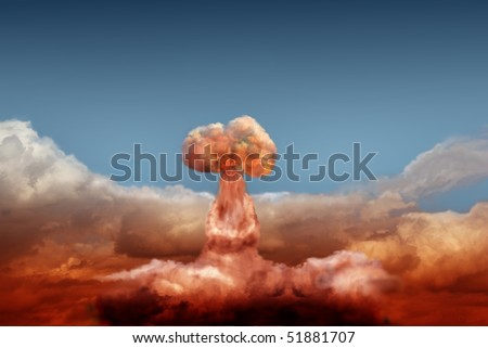 explosion of atomic bomb on background of sky
