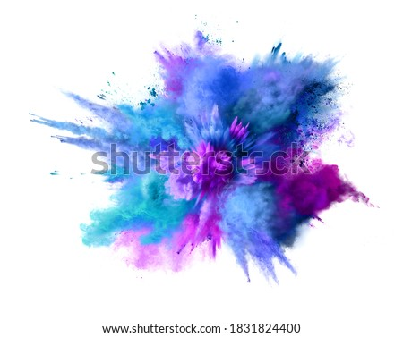 Explosion of blue, aqua and violet dust isolated on white. Freeze motion of color powder exploding. Illustration Stockfoto ©
