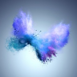 Explosion of blue powder in butterfly shape. Freeze motion of color powder exploding. Illustration
