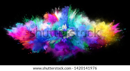Explosion of cloudy colorful powder on black background. Freeze motion of color powder exploding. 3D Illustration