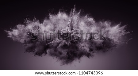 Explosion of cloudy dust. Freeze motion of color powder exploding. 3D Illustration