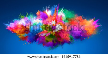 Explosion of cloudy red, green and blue powder. Freeze motion of color powder exploding. 3D Illustration