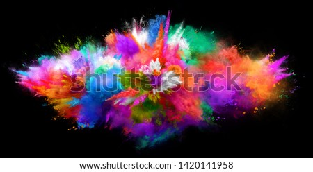Explosion of cloudy red, green and blue powder on black background. Freeze motion of color powder exploding. 3D Illustration