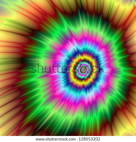 Explosion of Color/Digital abstract fractal image with a color explosion design in green, blue, pink and yellow. - stock photo