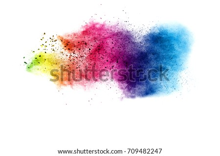 Explosion of color powder on white background #709482247