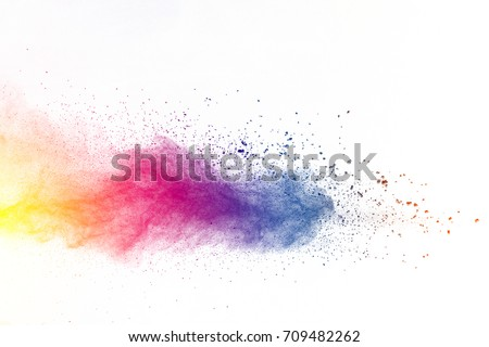 Explosion of color powder on white background - Shutterstock ID 709482262