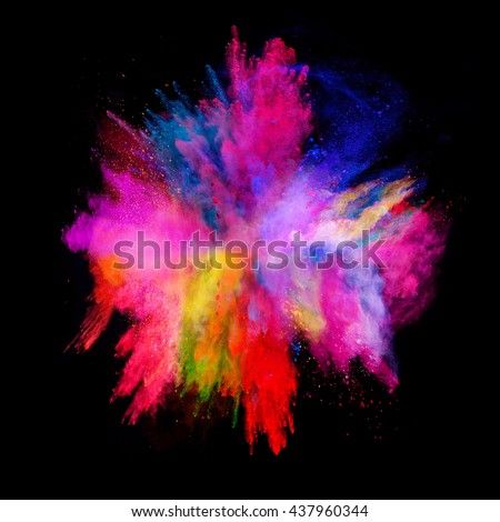 Explosion of colored powder, isolated on black background - Shutterstock ID 437960344