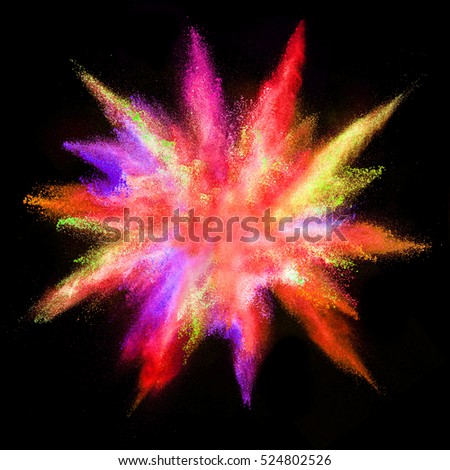 Explosion of colored powder, isolated on black background #524802526