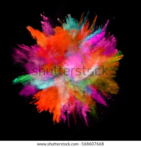 Explosion of colored powder, isolated on black background