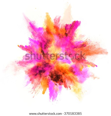 Explosion of colored powder, isolated on white background #370183385