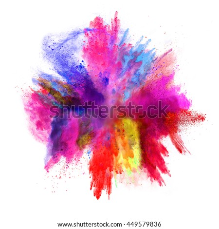 Explosion of colored powder, isolated on white background - Shutterstock ID 449579836