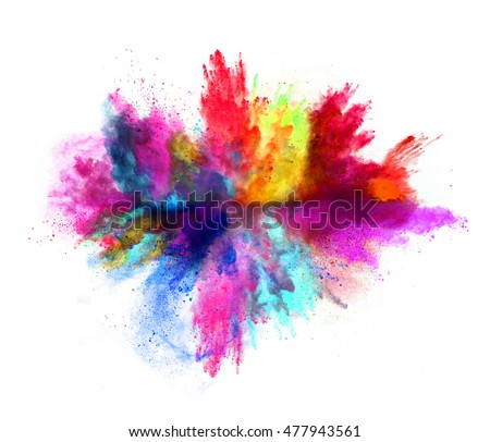 Photo of  Explosion of colored powder, isolated on white background