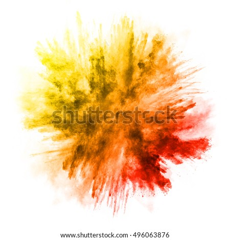 Explosion of colored powder, isolated on white background #496063876