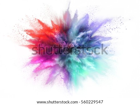 Explosion of colored powder, isolated on white background #560229547