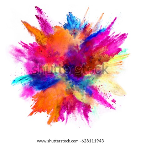 Explosion of colored powder, isolated on white background. Power and art concept, abstract blast of colors. #628111943