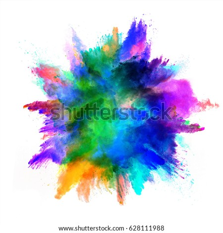 Explosion of colored powder, isolated on white background. Power and art concept, abstract blast of colors. - Shutterstock ID 628111988
