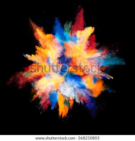 Explosion of colored powder on black background #368250803