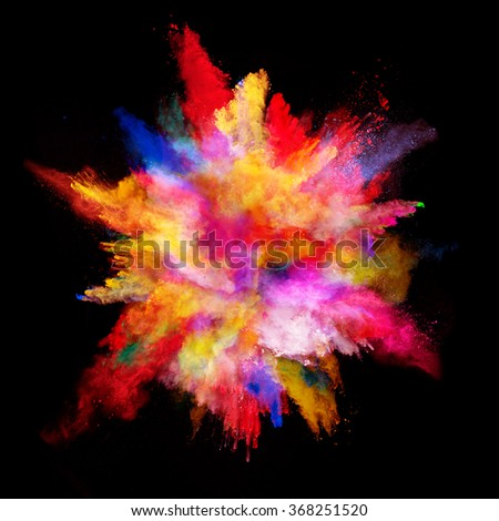Explosion of colored powder on black background #368251520