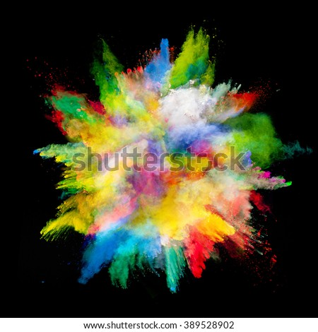 Explosion of colored powder on black background - Shutterstock ID 389528902