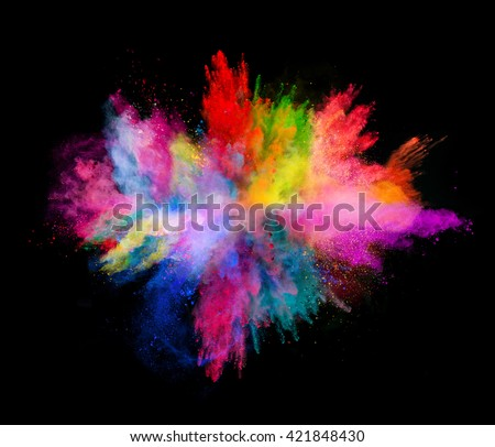 Explosion of colored powder on black background #421848430