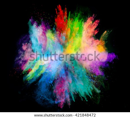 Explosion of colored powder on black background - Shutterstock ID 421848472