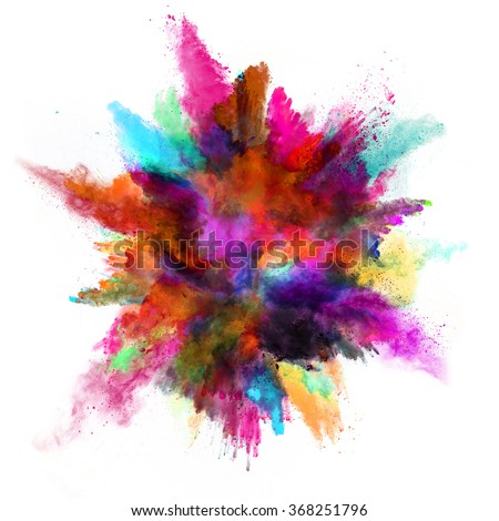 Explosion of colored powder on white background - Shutterstock ID 368251796