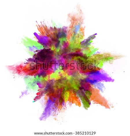 Explosion of colored powder on white background - Shutterstock ID 385210129