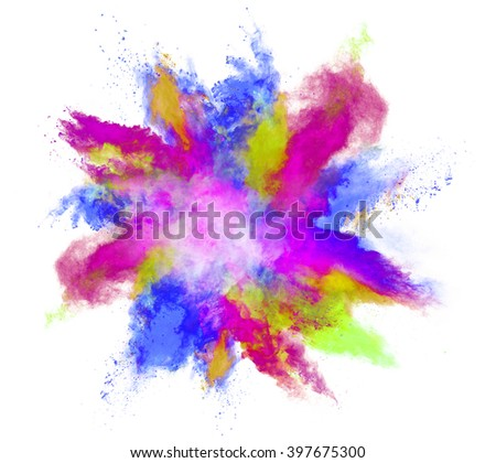 Explosion of colored powder on white background - Shutterstock ID 397675300
