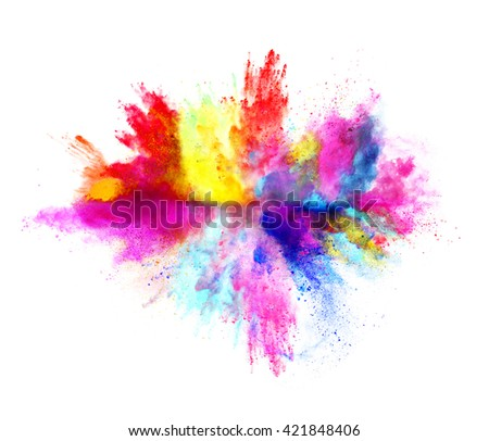 Explosion of colored powder on white background #421848406