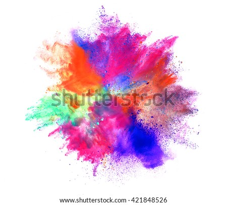 Explosion of colored powder on white background - Shutterstock ID 421848526