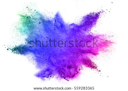Explosion of colored powder on white background - Shutterstock ID 559283365
