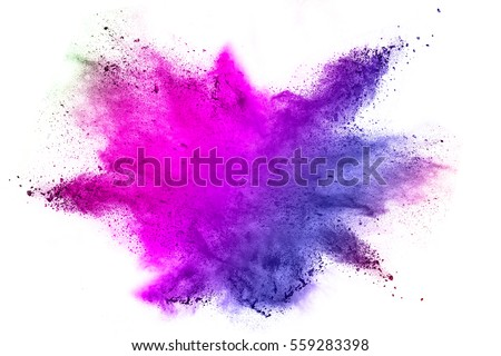 Explosion of colored powder on white background - Shutterstock ID 559283398
