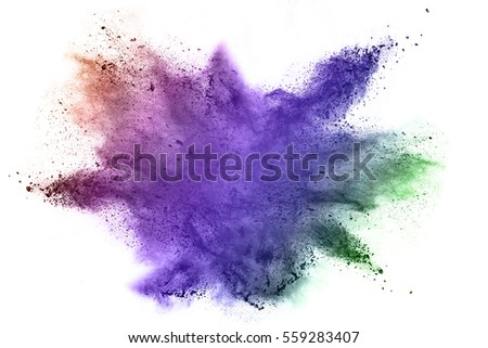 Explosion of colored powder on white background - Shutterstock ID 559283407