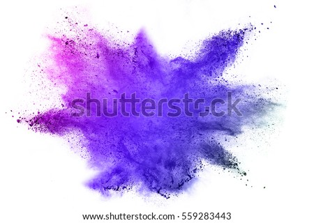 Explosion of colored powder on white background - Shutterstock ID 559283443