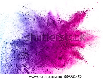 Explosion of colored powder on white background - Shutterstock ID 559283452