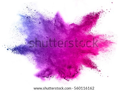 Explosion of colored powder on white background. - Shutterstock ID 560116162
