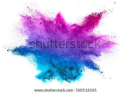 Explosion of colored powder on white background. - Shutterstock ID 560116165