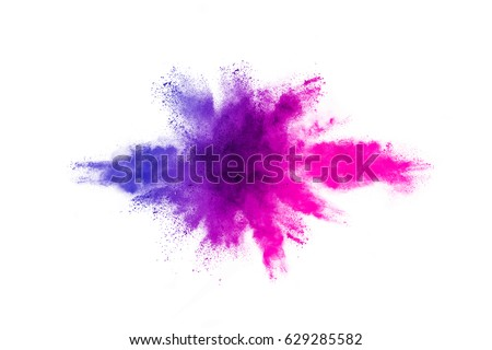 Explosion of colored powder on white background #629285582