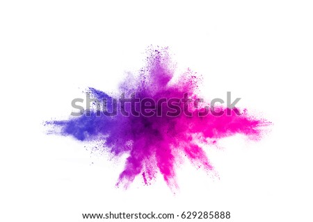 Shutterstock Explosion of colored powder on white background