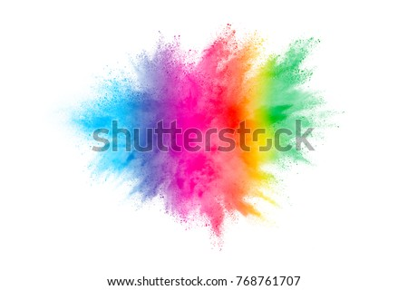 Explosion of colored powder on white background. #768761707