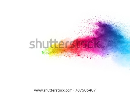 Explosion of colored powder on white background ,Freeze motion of color powder exploding/throwing color powder, multicolored glitter texture. - Shutterstock ID 787505407