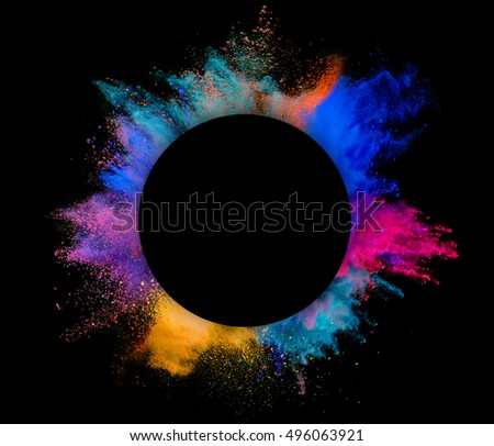 Explosion of colored powder with copyspace inside, isolated on black background #496063921
