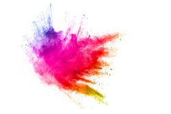 Explosion of colorful dust particles on white background.Abstract pastel color powder overlay texture.
