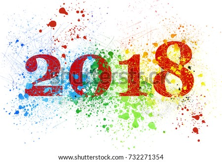 Explosion of colors for the new year 2018 on white #732271354