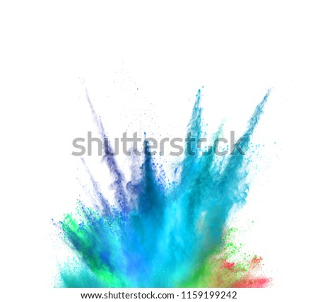Explosion of coloured powder isolated on white background. Abstract colored background #1159199242