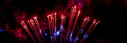 Explosion of fireworks rockets. The fiery tails of comets. Details and elements of outer space. Smoke and gas of stars.