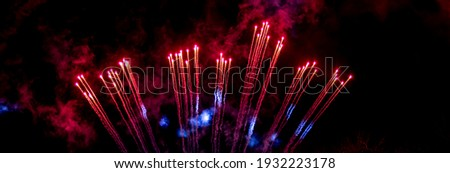 Explosion of fireworks rockets. The fiery tails of comets. Details and elements of outer space. Smoke and gas of stars. Stock photo ©