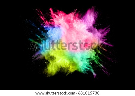 Explosion of multicolored powder on black background - Shutterstock ID 681015730