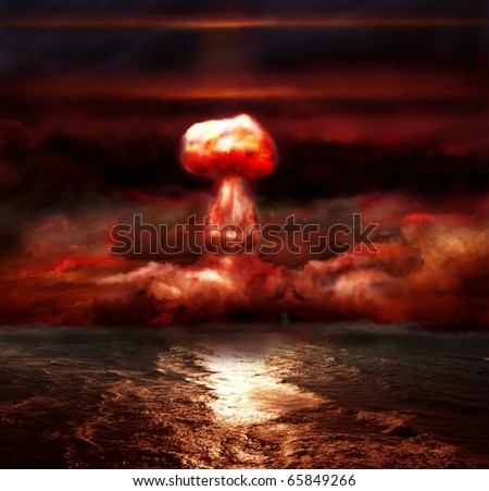 explosion of nuclear bomb over sea